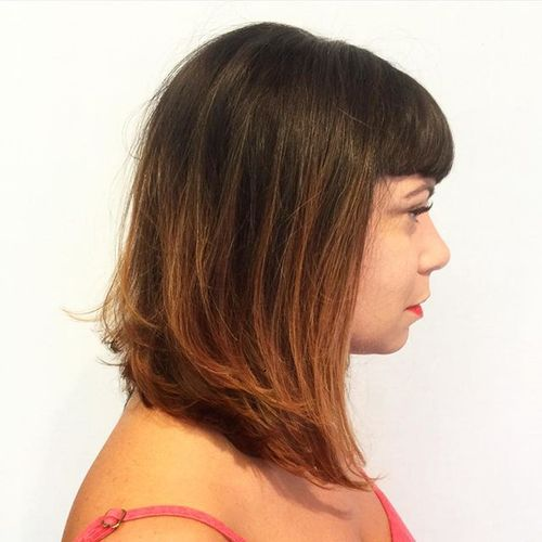medium brown hair with copper ombre highlights