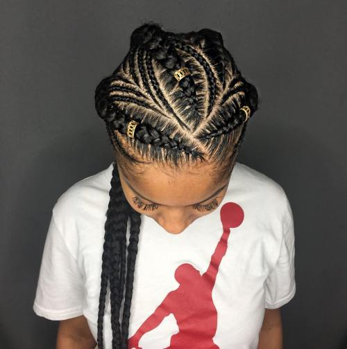 Thick And Thin Goddess Braids With Beads