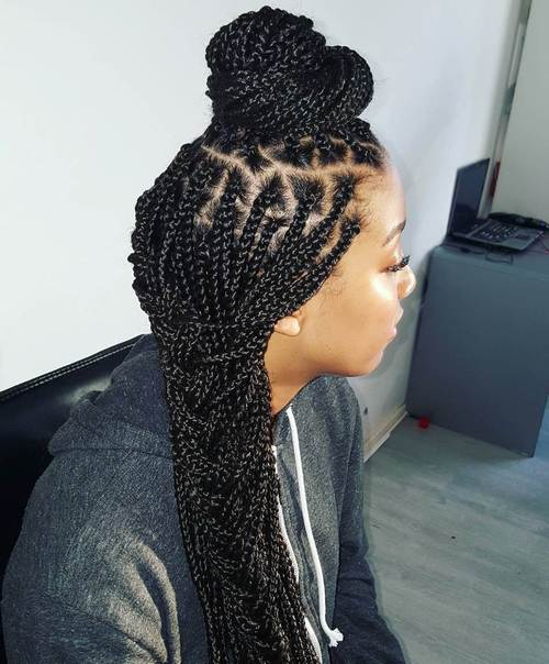 Top Bun And Side Braid For Box Braids