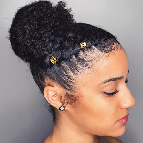 Bun Updo For Long Natural Hair