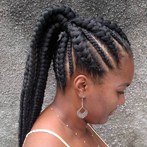 Cornrows Into Ponytail Hairstyle
