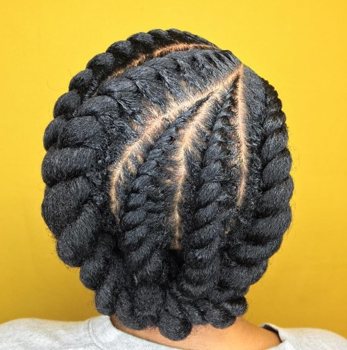 Protective Chunky Flat Twists Updo