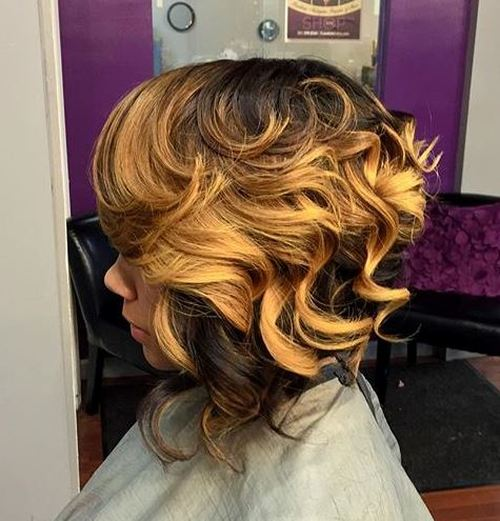 two-tone curly bob for black women