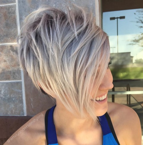 Long Layered Blonde Pixie With Side Bangs