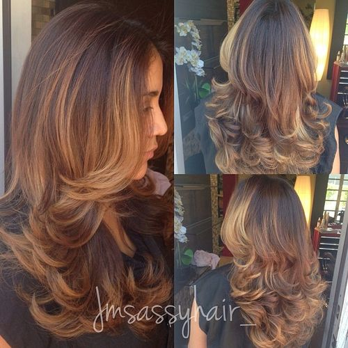 long layered hairstyle with balayage highlights
