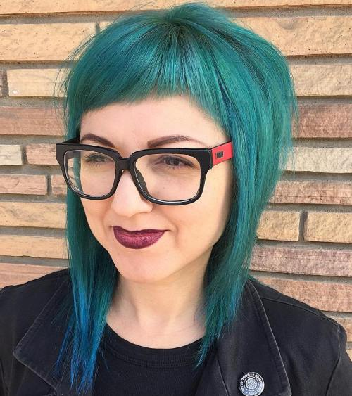 Medium Teal Hair With Cropped Bangs