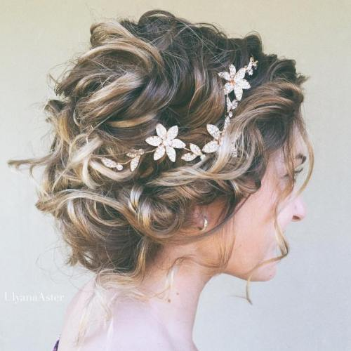 40 best short wedding hairstyles that make you say wow messy curly bridal updo junglespirit Images