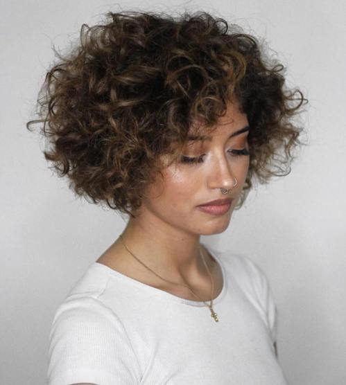 Short Curly Hair With Bangs And Layers 6