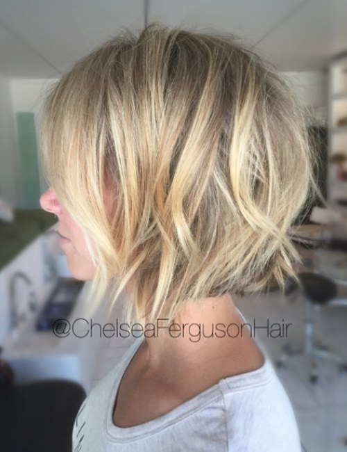 Textured Blonde Bob With Choppy Layers