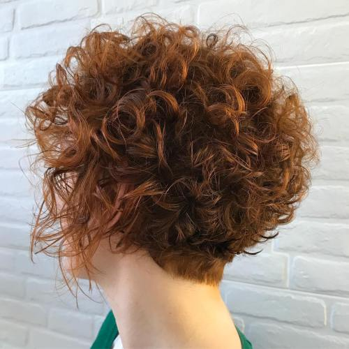 Curly Tapered Brown Cut With Copper Highlights