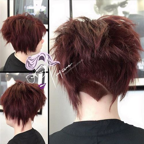 funky choppy burgundy bob with nape undercut