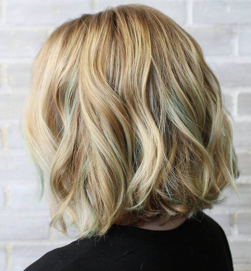 Honey Blonde Wavy Bob With Pastel Green Highlights