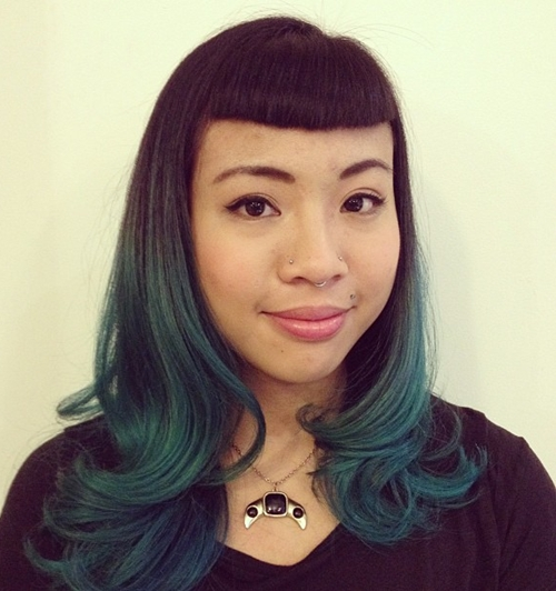 medium dark brown to teal ombre hair