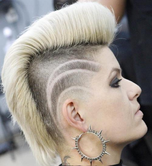 Punk Blonde Mohawk With Undershaves