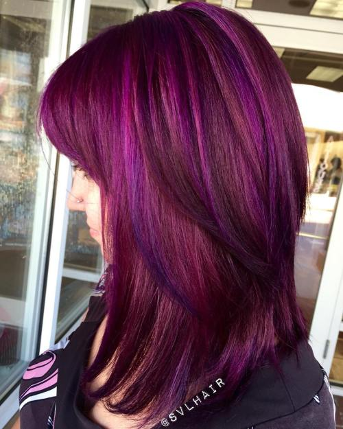 Purple Hairstyle With Bangs