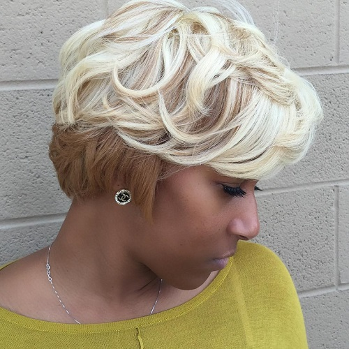 African American short blonde hairstyle