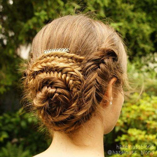 fishtail bun prom hairstyle