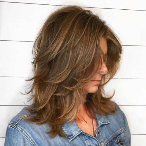 Light Brown Layered Shag