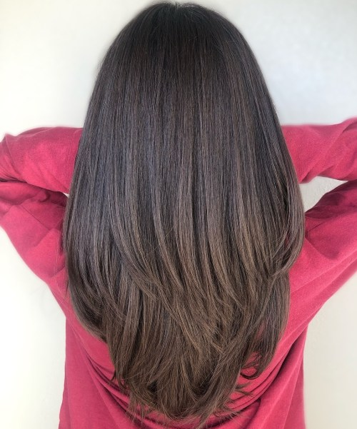 Long Brunette Straight Hair With Layers