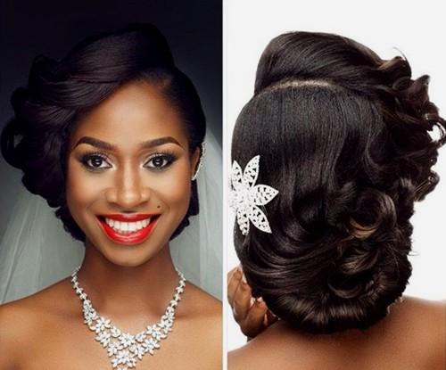 asymmetrical loose updo for black women