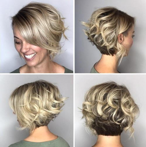 Two-Tone Curly Bob With Nape Undercut