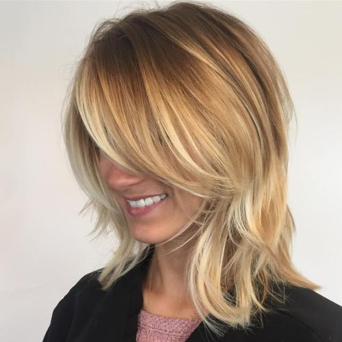 70 brightest medium length layered haircuts and hairstyles blonde balayage bob urmus Choice Image