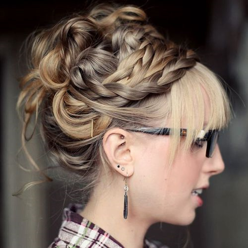 braided and twisted prom updo with straight bangs