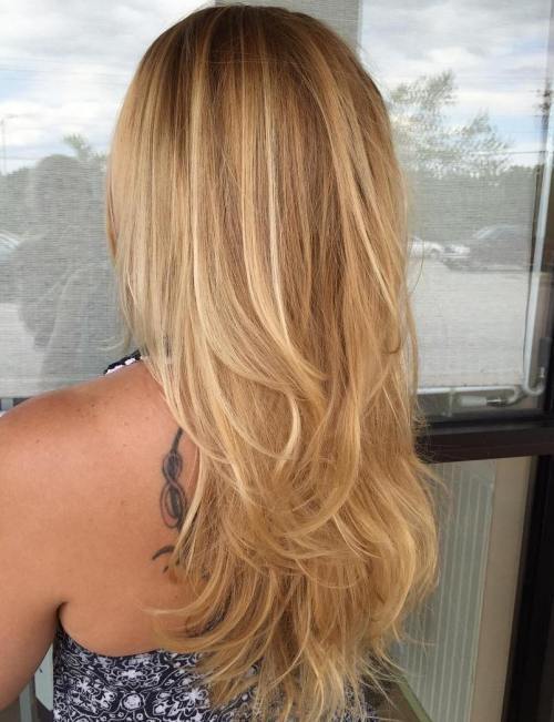 Caramel Blonde Layered Hairstyle