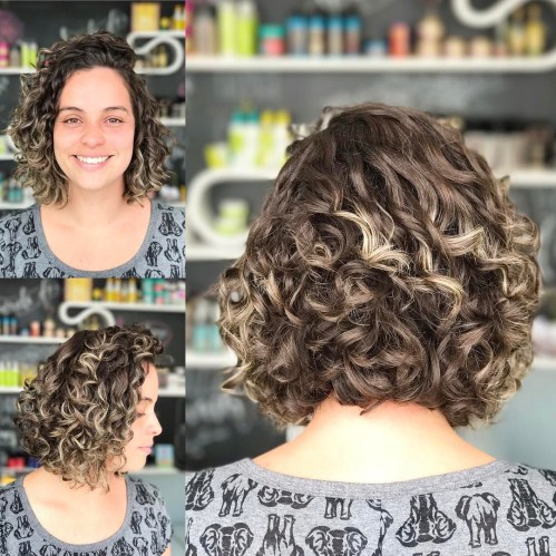 Curly Brown Bob With Blonde Highlights