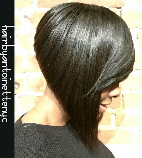 black sharply angled bob haircut