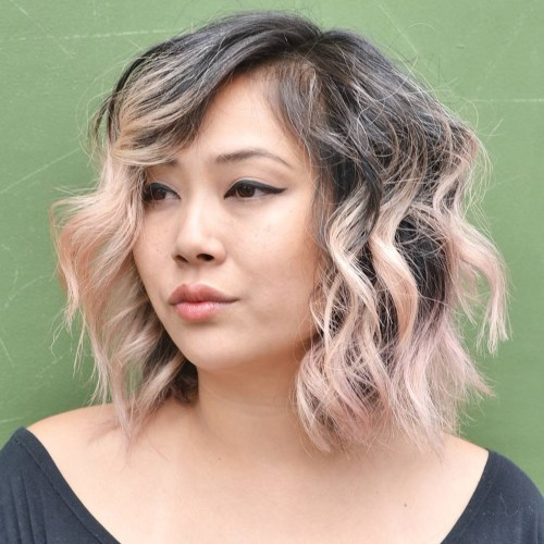 Choppy Wavy Side-Parted Lob For Coarse Hair