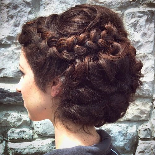 curled and twisted prom updo for long thick hair