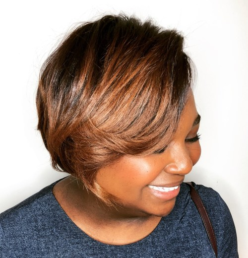 Short Chestnut Brown Bob for Black Women