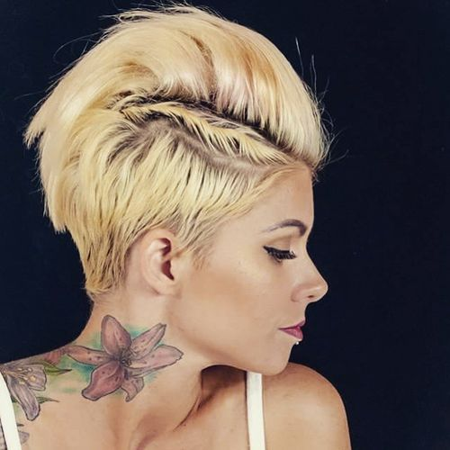 stylish short fauxhawk hairstyle