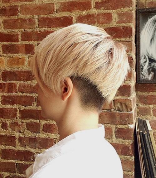 short shaggy haircut with nape undercut