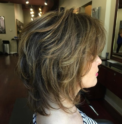 Medium Brown Shag with Balayage