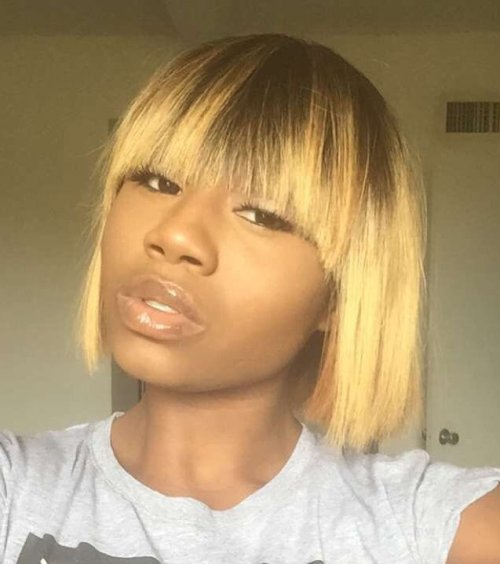 Straight Blonde Bob For Black Women