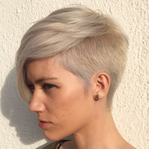 Ash Blonde Pixie With Side Undercut