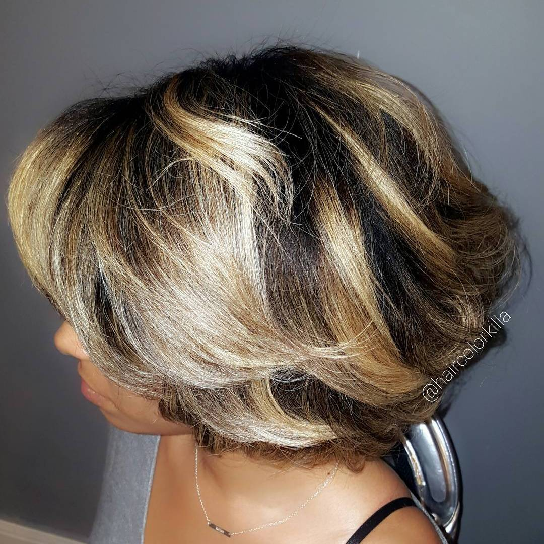 Black Bob With Blonde Balayage