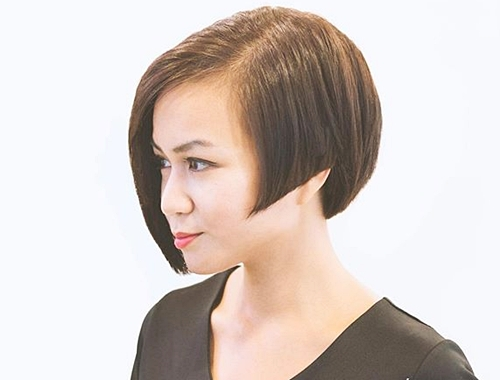 chin-length asymmetrical angled bob