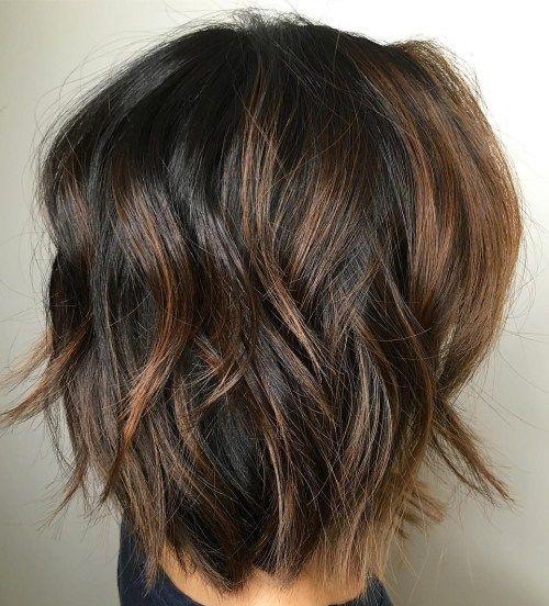 Shaggy Black Bob with Caramel Highlights