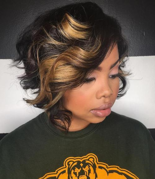 Black Curly Bob With Chunky Highlights