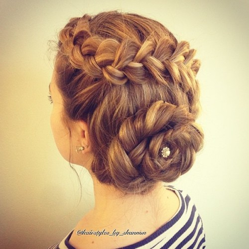 hair updo styles for long hair 40 most delightful prom updos for hair in 2019 2520 | 17 braided florette updo for long hair