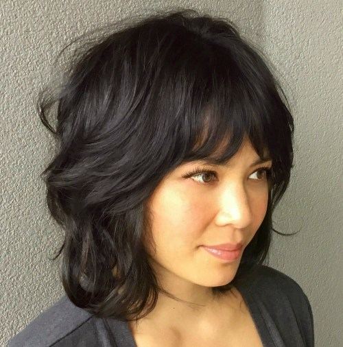 Feathered Bob Shag With Bangs