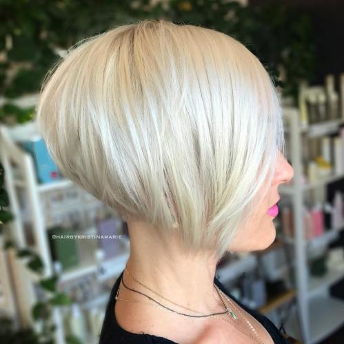 Stacked Sleek White Blonde Bob