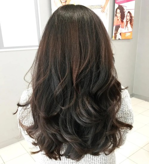 Thick Layered Black And Brown Cut For Long Hair