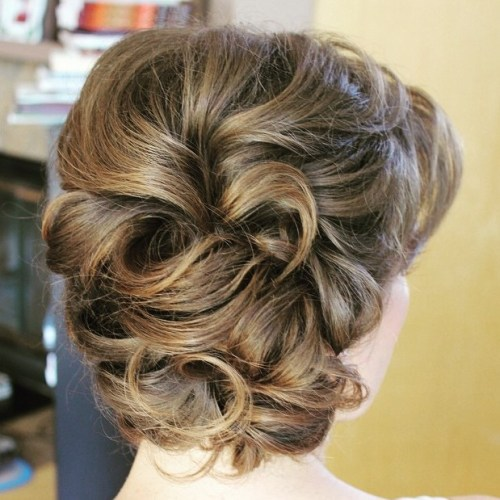 Curly Retro Updo With Bangs