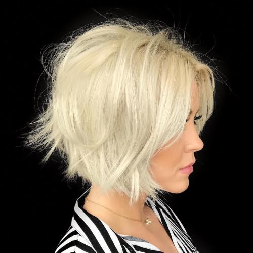 Frizzy Razored White Blonde Bob