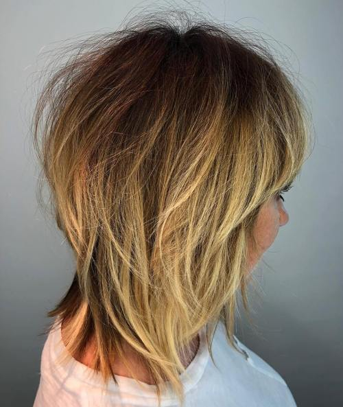 Layered Tousled Golden Blonde Balayage Hairstyle