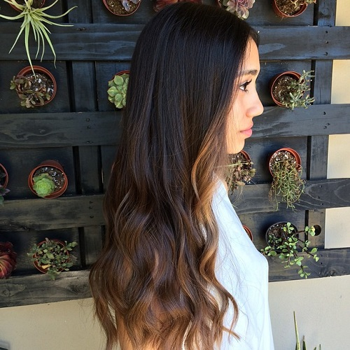 Long Black To Brown Ombre Hair